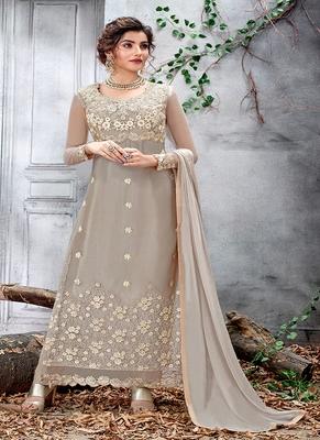 Light-grey embroidered net salwar