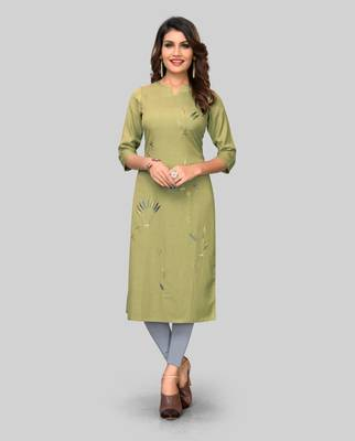 Light-green embroidered rayon ethnic-kurtis