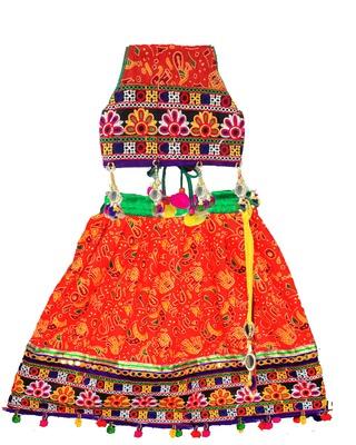 Orange embroidered multicoloured  cotton stitched lehenga