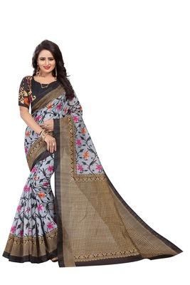 Grey printed art silk saree with blouse