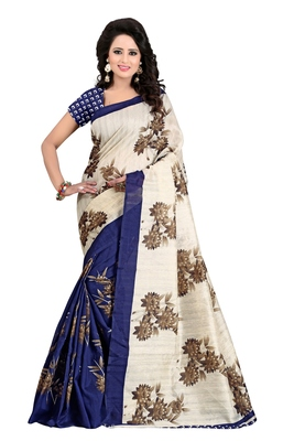 Multicolor printed art silk saree with blouse