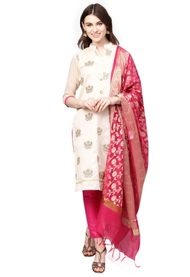 Women's Chanderi Silk Off White & Pink Embroidered A-Line Kurta With Trouser & Dupatta