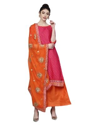 Women's Poly Cotton Pink & Orange Embroidered A-Line Kurta With Skirt & Dupatta