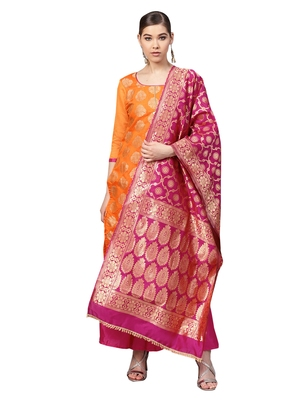 Women's Chanderi Silk Orange & Pink Woven A-Line Kurta With Palazzo & Dupatta