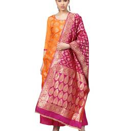 Women's Chanderi Silk Orange & Pink Woven A-Line Kurta With Palazzo & Dupatta