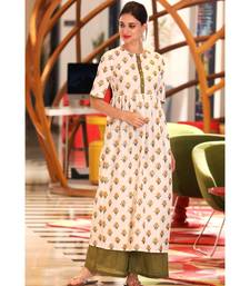 WHITE & OLIVE FLORAL KURTA WITH PALAZZO