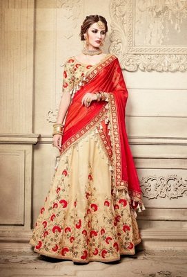 Beige Embroidery Silk Blend Lehenga