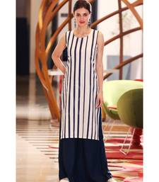 WHITE & BLUE STRIPED KURTA WITH PALAZZO