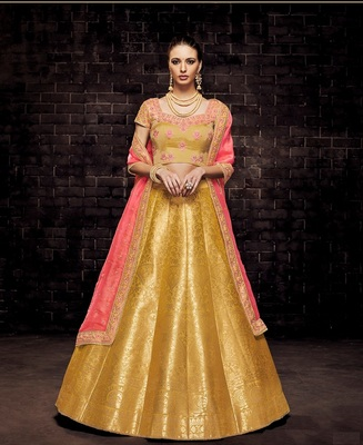 Yellow Embroidery Brocade Lehenga