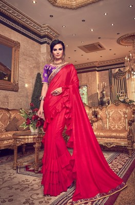 Red plain poly silk saree with blouse