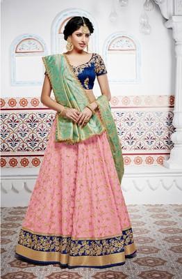 Pink Embroidery Tussar Silk Lehenga