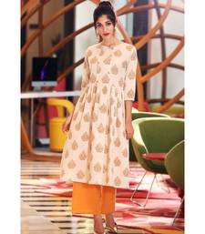 off white MUGHAL FLORAL KURTA WITH PALAZZO