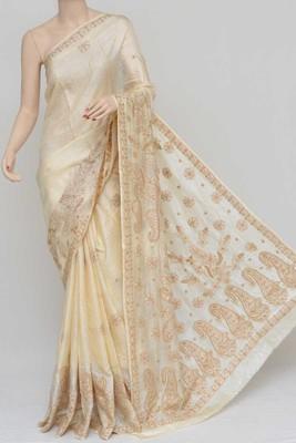 Cream Color Tussar Silk Lucknowi Chikankari saree with blouse