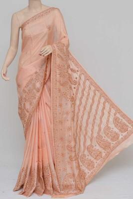 Light-Peach Color Tussar Silk Lucknowi Chikankari saree with blouse
