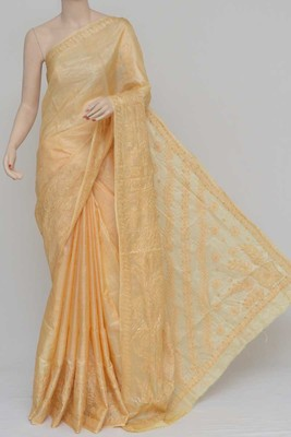 Light-Yellow Color Tussar Silk Lucknowi Chikankari saree with blouse