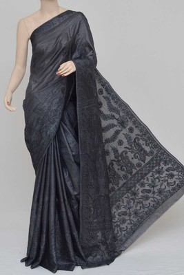 Carbon-Black Color Tussar Silk Lucknowi Chikankari saree with blouse