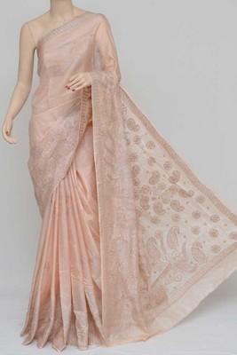 Light-Almond Color Tussar Silk Lucknowi Chikankari saree with blouse