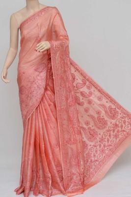 Peach Color Tussar Silk Lucknowi Chikankari saree with blouse