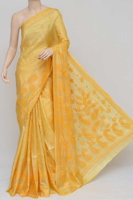 Yellow Color Tussar Silk Lucknowi Chikankari saree with blouse