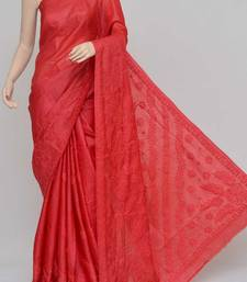 Red Color Tussar Silk Lucknowi Chikankari saree with blouse