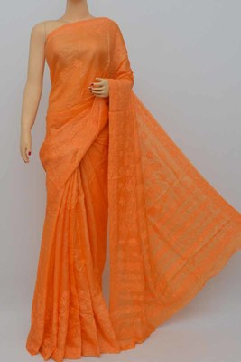 Orange Color Tussar Silk Lucknowi Chikankari saree with blouse