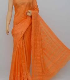 Orange Color Tussar Silk Lucknowi Chikankari saree with blouse
