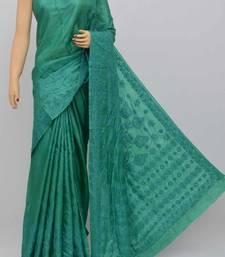 Darkgreen Color Tusser Silk Lucknowi Chikankari saree with blouse