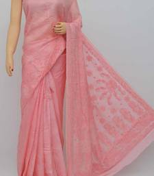 Peach Color Tusser Silk Lucknowi Chikankari saree with blouse