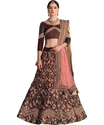 Maroon Embroidered Silk Bledn Semi Stitched Lehenga