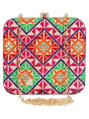 Multicolour Vista Embroidered Square Clutch Bag