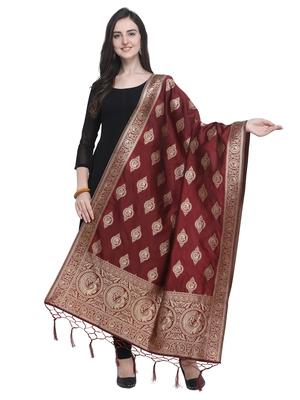 Maroon Poly Silk Banarasi Womens Dupatta