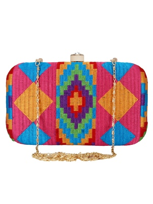 Hyperbole Embroidered Clutch Pink & Multicolour