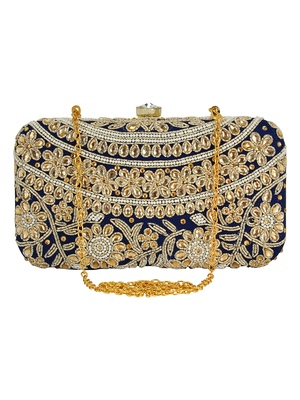 Adorn Embroidered & Embelished Party Clutch Navy & Gold