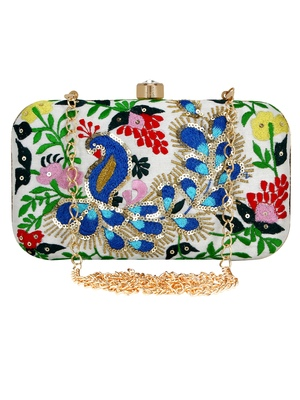 Adorn Embroidered & Embelished Party Clutch White & Multicolour