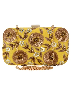 Adorn Embroidered & Embelished Party Clutch Yellow & Gold