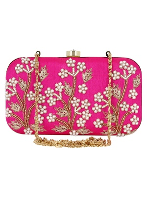 Adorn Embroidered & Embelished Party Clutch Pink