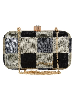 Adorn Sequined Party Clutch Black & Gold