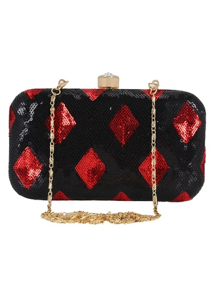 Adorn Sequined Party Clutch Black & Red