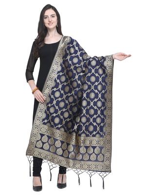Navy Blue Poly Silk Banarasi Womens Dupatta