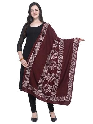 Magenta Poly Cotton Printed Womens Dupatta
