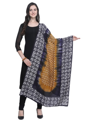 Navy Blue Poly Cotton Printed Womens Dupatta
