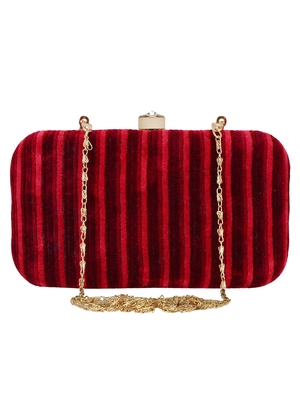Loom Fabric Striped Clutch Red Maroon