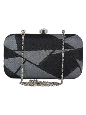 Loom Jacquard Fabric Clutch Black & Grey