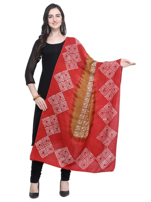 Red Poly Cotton Printed Womens Dupatta