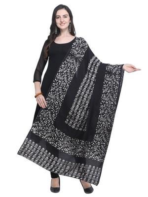 Black Poly Cotton Printed Womens Dupatta