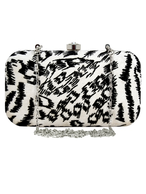 Feral Animal Print Velvet Fabric Clutch Black & White