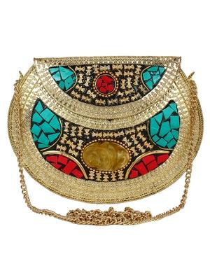 Jewel Mosaic Clutch Gold & Multicolour