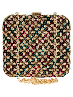 Vista Embroidered & Embelished Square Clutch Multi