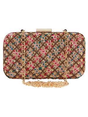 Adorn Embroidered & Embelished Party Clutch Multi