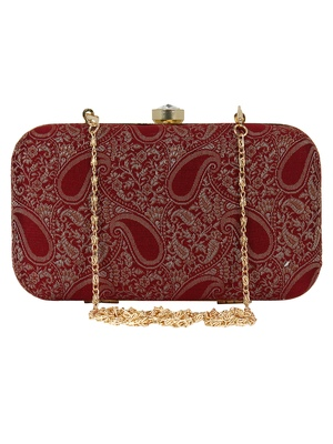 Tulle Faux Silk Fabric Printed Clutch Maroon & Gold